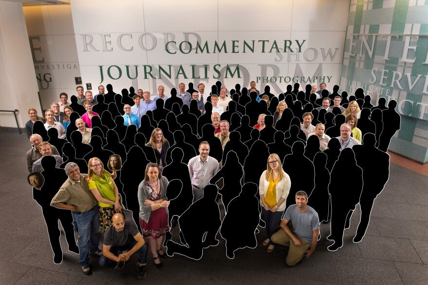 In May 2013, 142 newsroom employees of <em>The Denver Post</em> posed for a photo after the newspaper won a Pulitzer Prize for its coverage of the Aurora theater shooting in 2012. This illustration shows the original staff members who remain in April 2018.