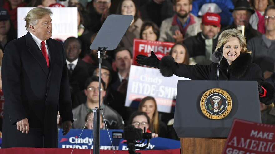 President Trump made two campaign appearances this week with Republican Sen. Cindy Hyde-Smith, who has stumbled over the state's racist past and faces a tight runoff election Tuesday.