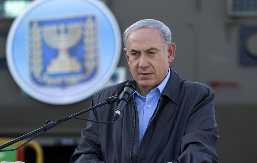 Israeli Prime Minister Benjamin Netanyahu adresses Israeli army troops on June 19.