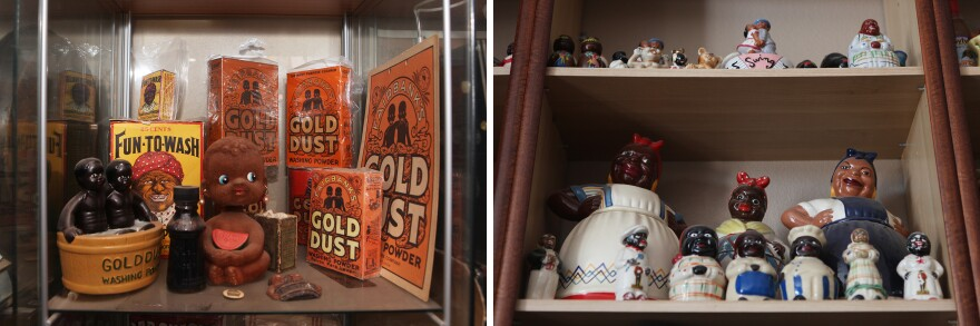 Oran's collection contains many items that illustrate negative stereotypes, from shirtless, dark-skinned children on boxes of Gold Dust Washing Powder (left) to cookie jars depicting the mammy housemaid caricature (right).