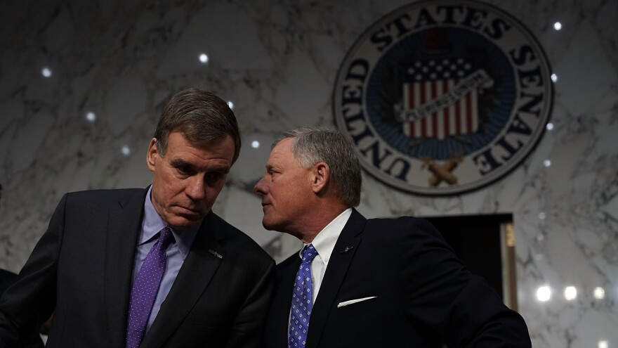 The Senate intelligence committee, led by Vice Chairman Mark Warner (left) and Chairman Sen. Richard Burr, appears to have arrived at a partisan deadlock over whether Donald Trump's campaign conspired with the Russian attack on the 2016 presidential election.