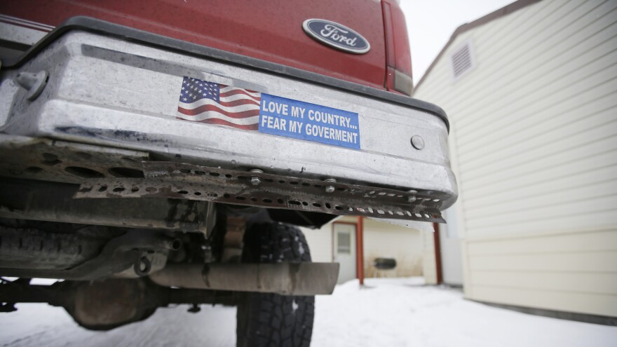 A truck displaying a bumper sticker at Malheur National Wildlife Refuge headquarters on Jan. 5 near Burns, Ore. Armed anti-federalists took over the wildlife refuge in Oregon for 41 days. <strong></strong>The occupation ended on Feb. 11.