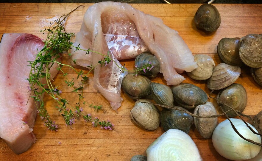 The ingredients for Kathy's summer fish and clam chowder. (Kathy Gunst for Here & Now)
