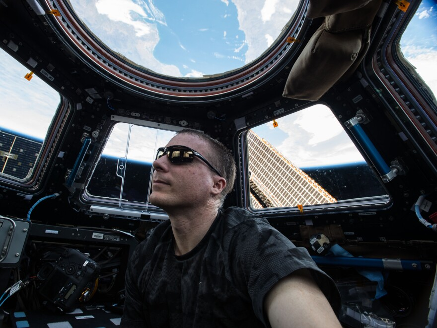 Self portrait of Expedition 43 commander Terry Virts in the Cupola module.