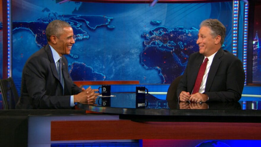President Obama appeared with Jon Stewart on <em>The Daily Show</em> on Tuesday night. It was Obama's seventh appearance, and his last before Stewart leaves the show next month.