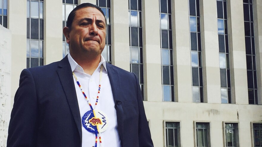 Dave Archambault, chairman of the Standing Rock Sioux tribe, stands outside a federal courthouse in Washington, D.C., on Oct. 5.