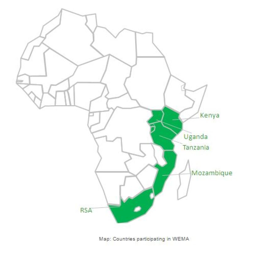 A map of countries participating in Monsanto's Water Efficient Maize for Africa project.