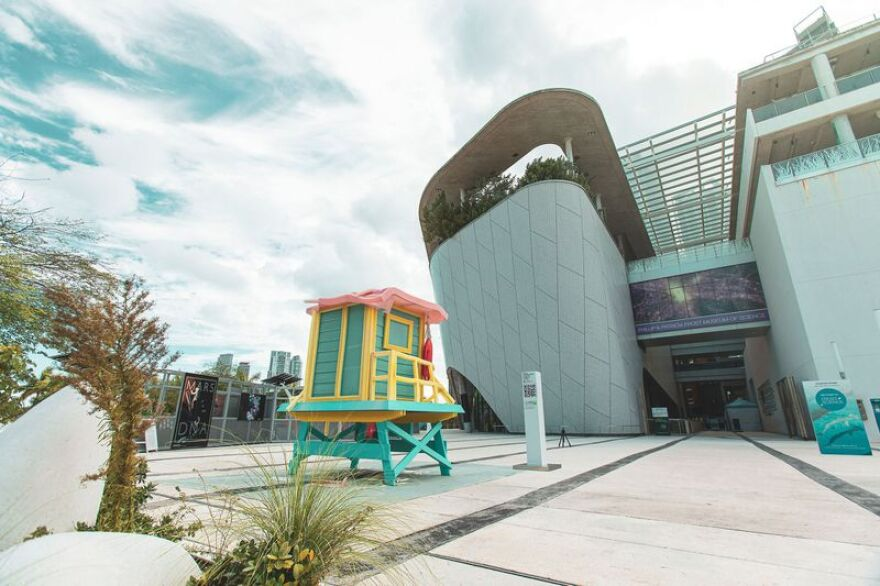 The CLEO Institute unveiled this wax statue of a lifeguard's beach hut at the Phillip and Patricia Frost Museum of Science in downtown Miami on Sept. 9. The statue will melt as part of the institute's Florida Climate Crisis campaign.