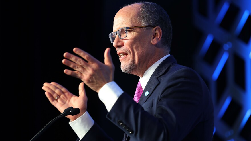 Tom Perez, Democratic National Committee chair, speaks during an event in February in Charlotte, N.C.