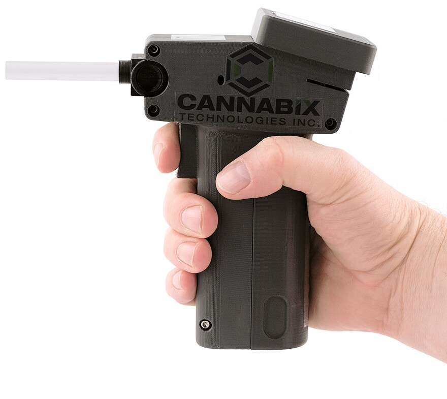 This prototype of a marijuana breath tester was developed by Vancouver, British Columbia-based Cannabix Technologies.