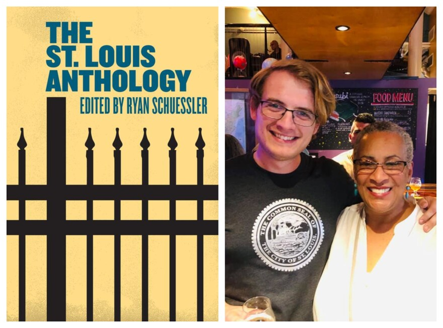 """Earthbound Beer on Cherokee Street hosted a release party for """"The St. Louis Anthology"""" last Friday. The volume's editor, Ryan Schuessler poses for a picture with Vivian Gibson (at right), whose story """"Sun Up to Sundown"""" is one of nearly 70 pieces in the"""