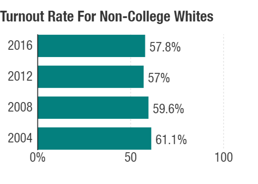 Trump won a record margin of white voters without a college degree in 2016, but they didn't turn out at a record rate.