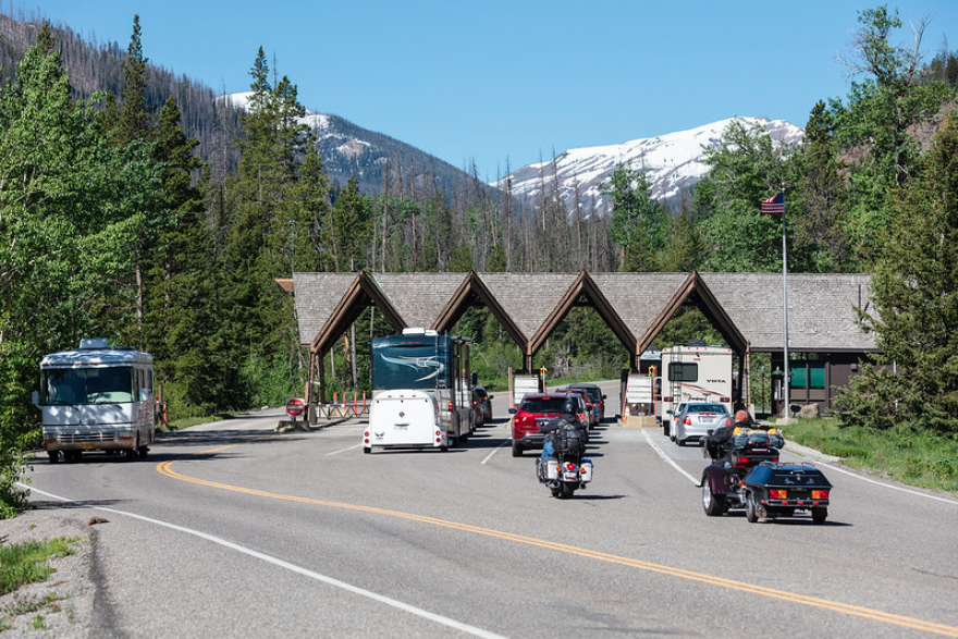 An entrance to Yellowstone National Park.