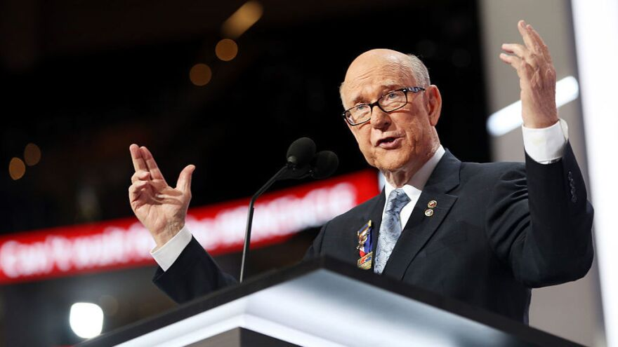 Sen. Pat Roberts, R-Kan., speaks on the first day of the 2016 Republican National Convention at Quicken Loans Arena in Cleveland.