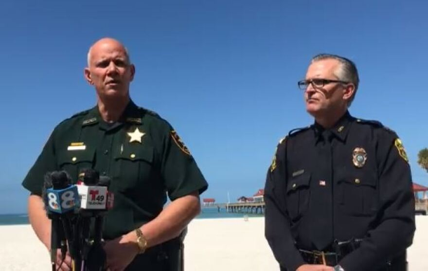 Pinellas County Sheriff Gaultieri and Clearwater Beach Chief Dan Slaughter hold a news conference on Clearwater Beach