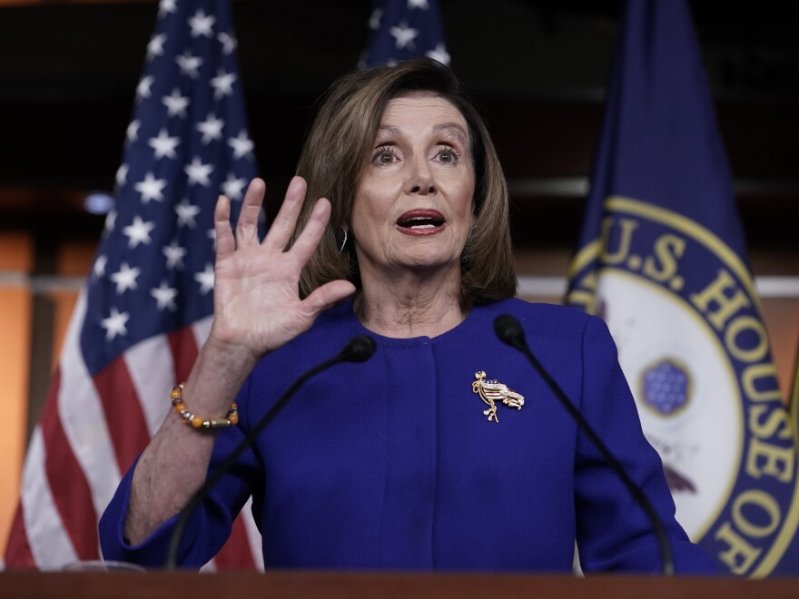 "House Speaker Nancy Pelosi says she will send the Senate the articles of impeachment ""soon."""