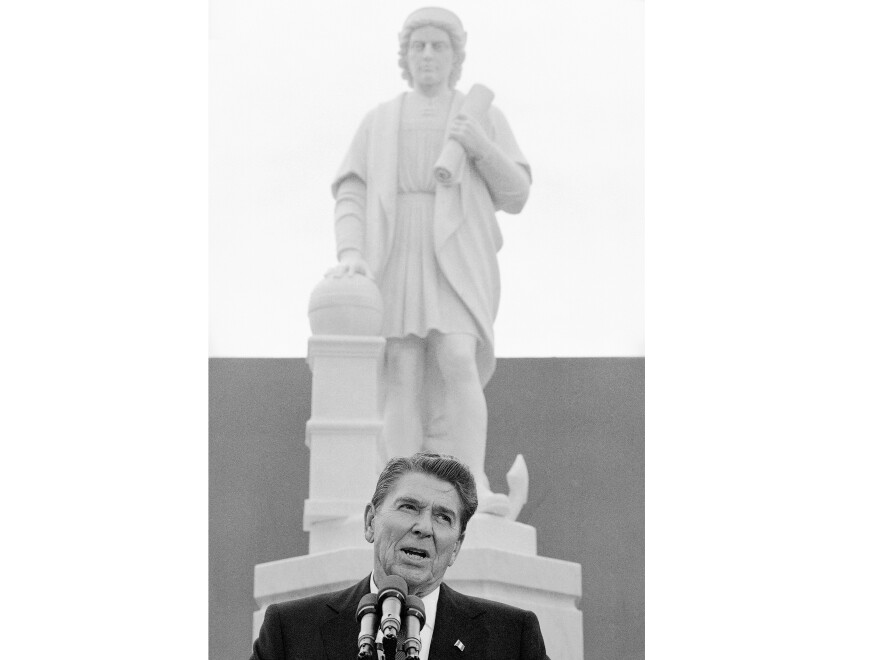 Protesters in Baltimore pulled down a statue of Christopher Columbus and threw it in the harbor on July 4. It had stood near the city's Little Italy neighborhood since 1984, when it was unveiled by public figures including President Ronald Reagan.