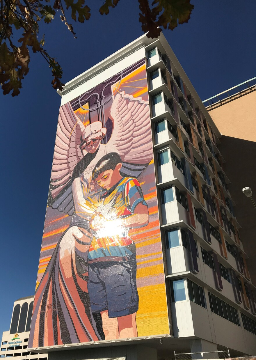 """Tile mural """"Spirit of Healing"""" by Jesse Treviño is on the south wall of Santa Rosa Children's Hospital."""