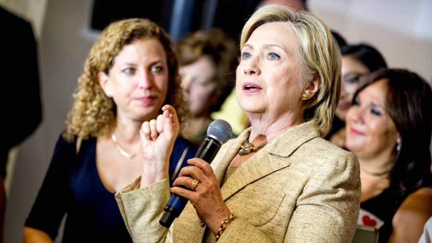 Hillary Clinton campaigns alongside former Democratic National Committee Chair Debbie Wasserman Schultz, in August 2016.