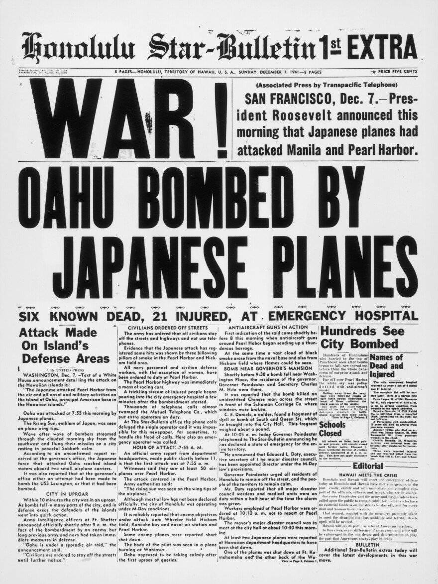 On Dec. 7, 1941, the <em>Honolulu Star-Bulletin</em> reported on the Japanese bombing of Pearl Harbor, Hawaii, within hours of the attack.