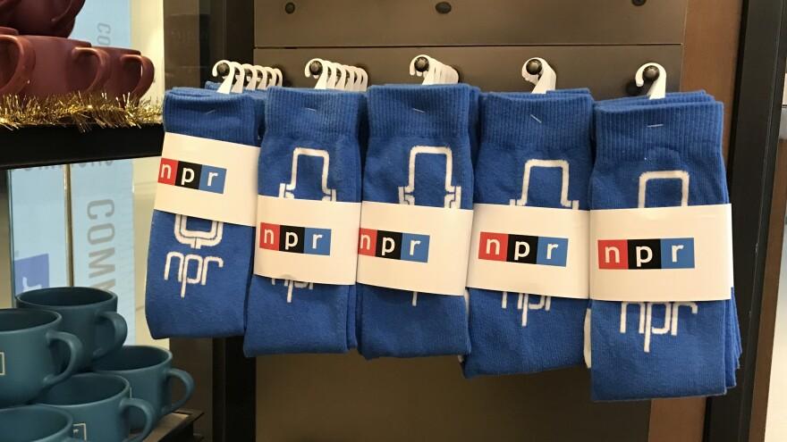 Socks on display in the NPR gift shop.