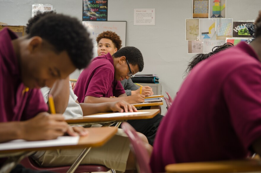 Students take an algebra quiz TuesStudents take an algebra quiz Tuesday at Lutheran HIgh  School North in north St. Louis day at Luthern Middle School North in north St. Louis County. The parochial school is planning to add middle school grades next fall.