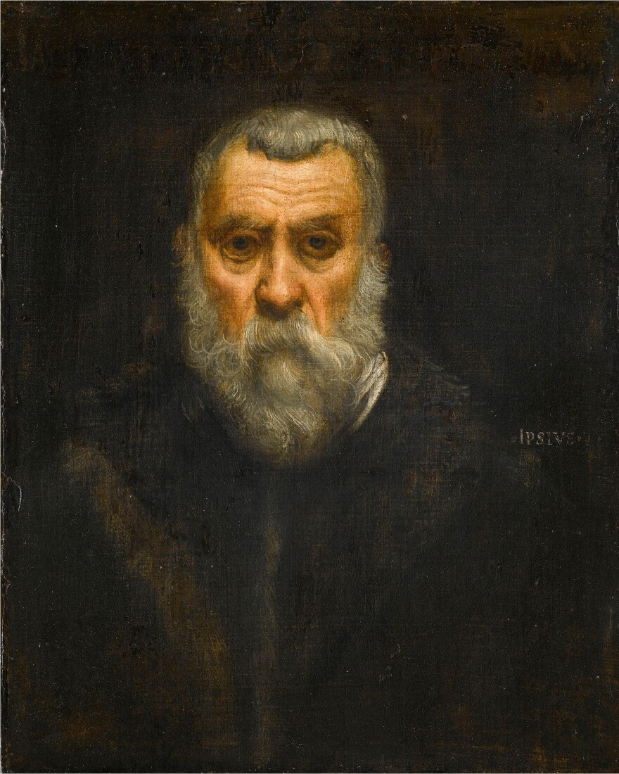 Tintoretto painted this self-portrait circa 1588, when he was about 70 years old. (You can compare this painting to his self-portrait from the 1540s at the top of the page.)