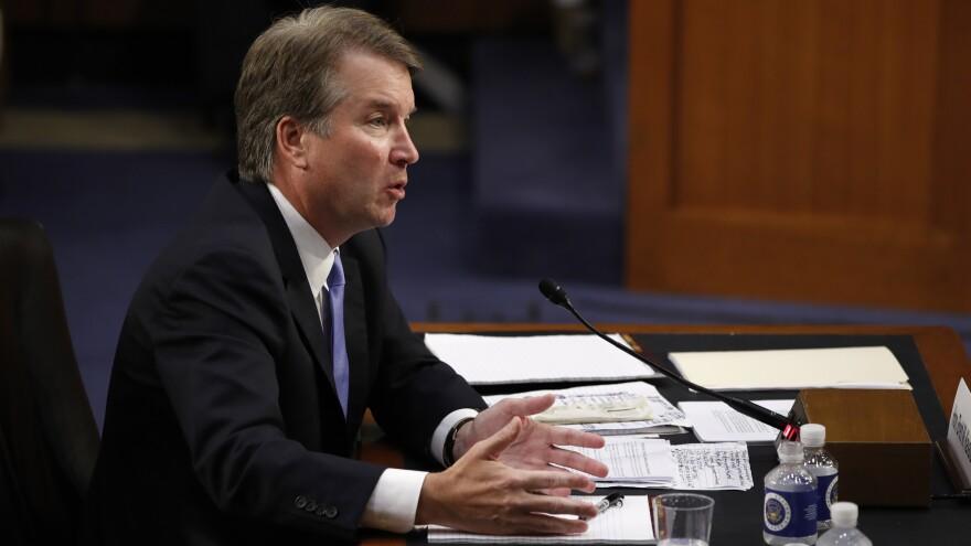 President Trump's Supreme Court nominee, Judge Brett Kavanaugh, testifies during his is Senate Judiciary committee confirmation hearing on Sept. 6.
