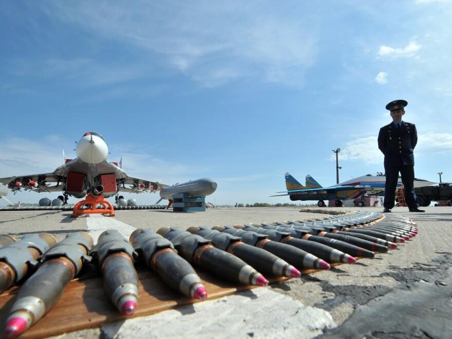 A MIG-29 and its armaments on display at the military aerodrome at Vasylkiv near Kiev, Ukraine.