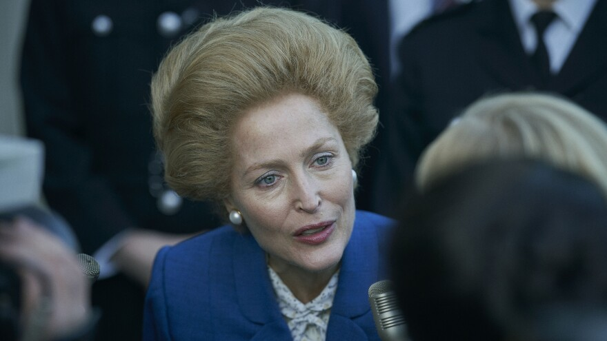 Gillian Anderson portrays British Prime Minister Margaret Thatcher in <em>The Crown. </em>