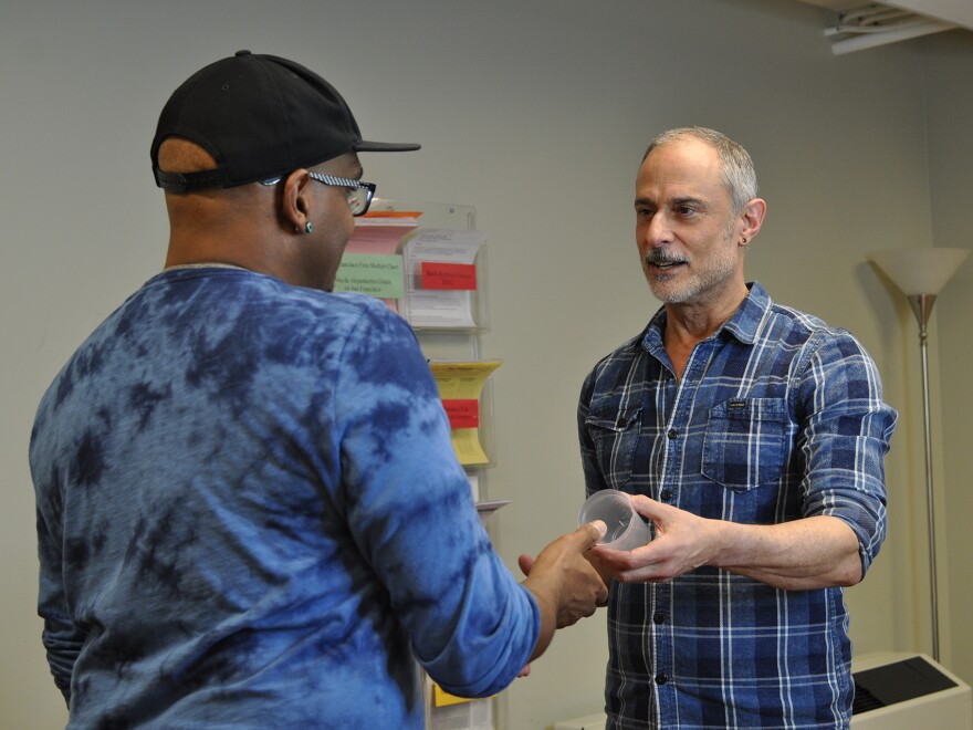 Rick Andrews (right) runs a drug counseling and testing program at the San Francisco AIDS Foundation to help men get their meth use under control.