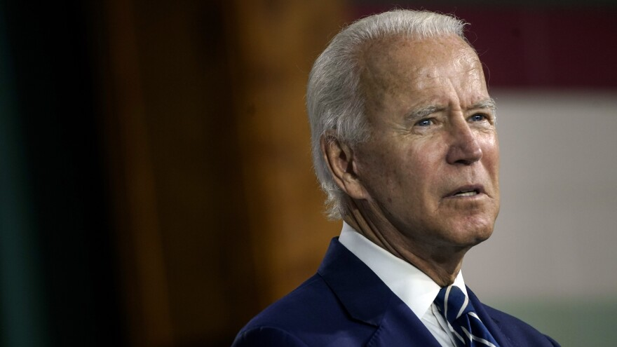 Presumptive Democratic presidential nominee Joe Biden, pictured on Wednesday, has raised questions about whether a senator leading an investigation into him is at the receiving end of a foreign influence operation.