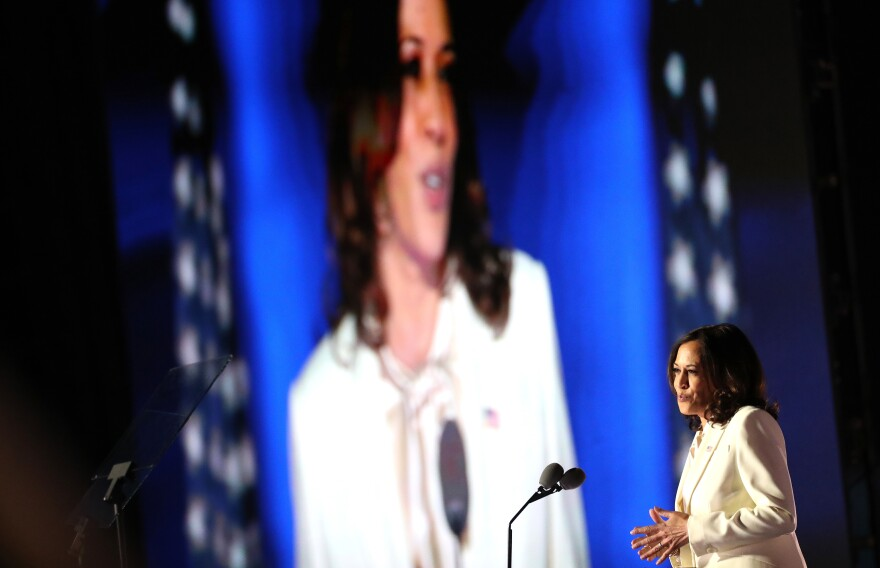 Vice President-elect Kamala Harris speaks on stage at the Chase Center before President-elect Joe Biden's address to the nation on Saturday in Wilmington, Del.
