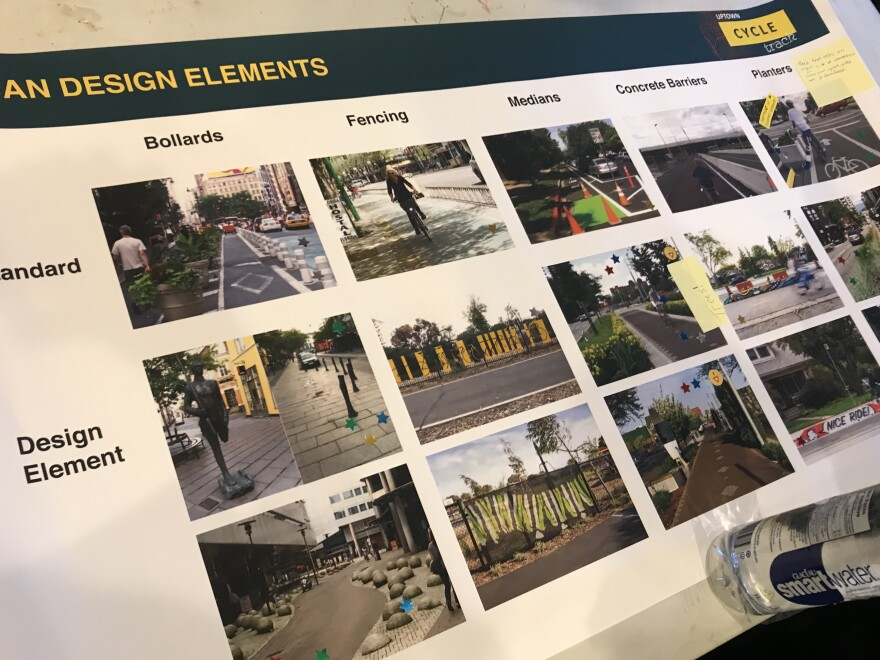 Planners present different barrier options for the Cycle Track. Most barriers will be concrete, but their type and design may change based on location.