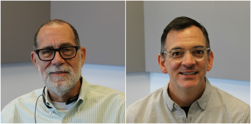 Long-time journalist Dick Weiss (left) and KSDK anchor Casey Nolen (right) talked about their two-week visit to Pakistan on media-exchange program.
