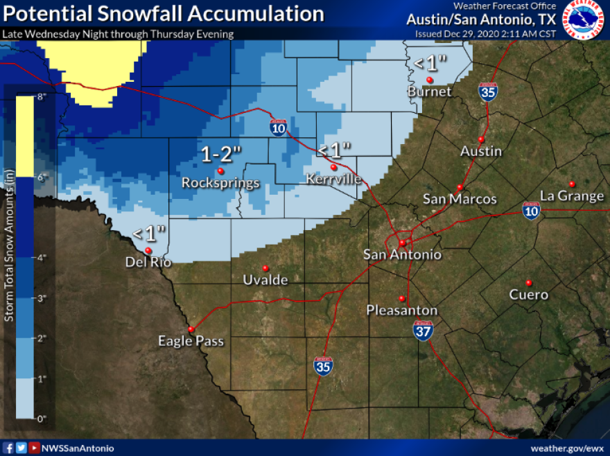The National Weather Service forecasts a mix of rain and snow late Wednesday night through early Thursday evening across portions of the Hill Country and Edwards Plateau.