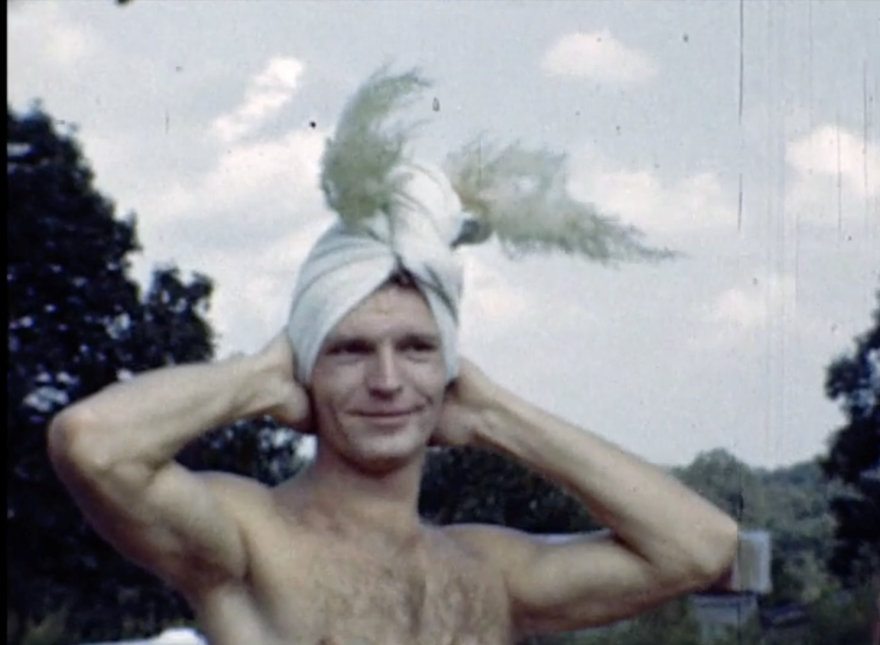 This image from the 1945 home movies depicts the carefree mood of the pool party.