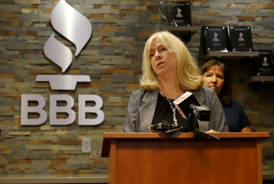 Real estate agent Shawn Uhe speaks during a press conference at the Better Business Bureau in St. Louis about being a target of business email fraud. 9/26/19