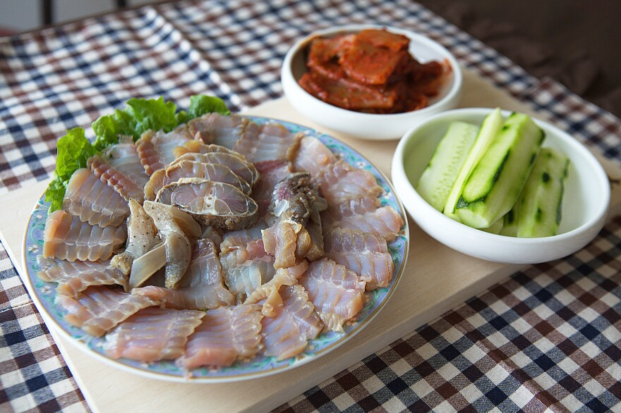 <em>Hongeo</em>, a dish of skate left to ferment in its own urine, is a beloved delicacy in parts of South Korea — despite its overpowering ammonia smell. A sashimi platter of <em>hongeo </em>for three to four people usually costs anywhere from 60,000 ₩ (U.S. $49.78) to 150,000 ₩ (U.S. $124.46).