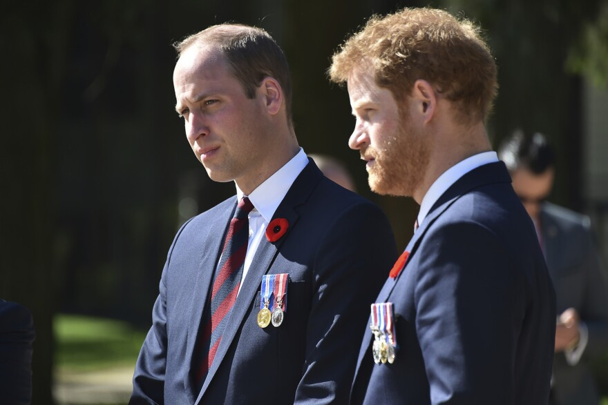 Britain's Prince William, Duke of Cambridge, left, and Britain's Prince Harry arrive at the Canadian National Vimy Memorial in Vimy, near Arras, northern France. (Philippe Huguen/AP)