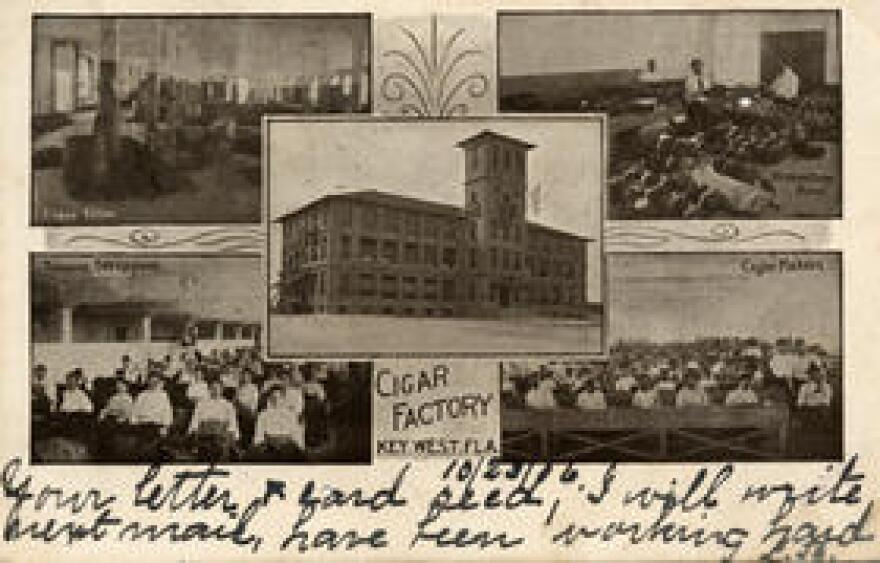 A postcard dated 1906 of the Havana-American Cigar Factory with four interior images.