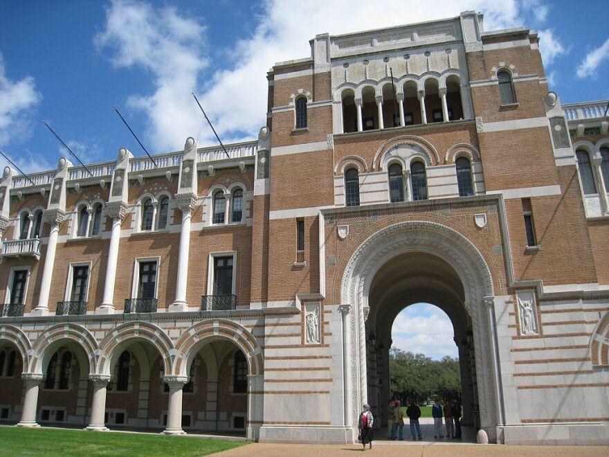 Rice University building archway.