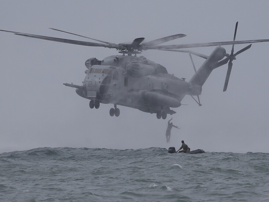 A CH-53 helicopter based in Okinawa takes part in military exercises off the Philippines in 2013.