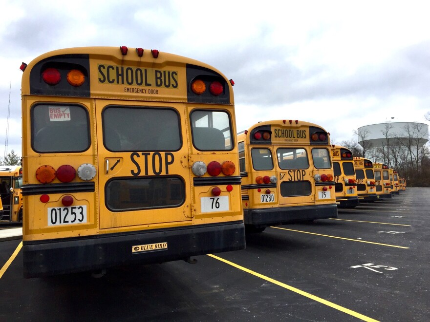 School buses line up at Centerville department of education transportation headquarters.