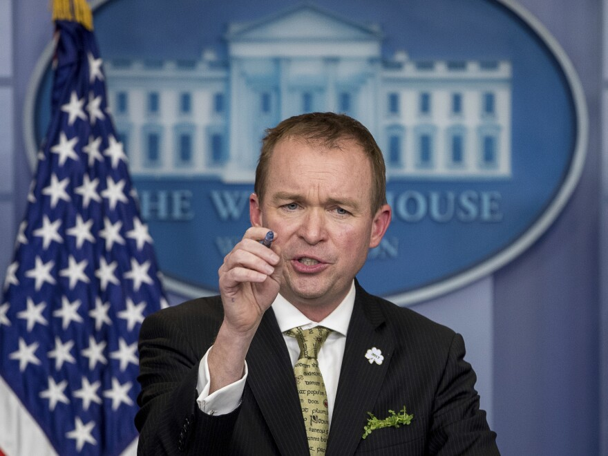 Budget Director Mick Mulvaney speaks about President Trump's budget proposal for the coming fiscal year during the daily press briefing at the White House on March 16.