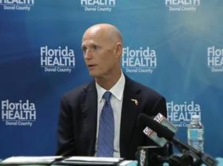 Gov. Rick Scott held two Zika roundtable discussions this week. In this picture, he's speaking during the one in Jacksonville.