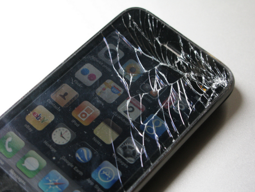 A shattered iPhone.