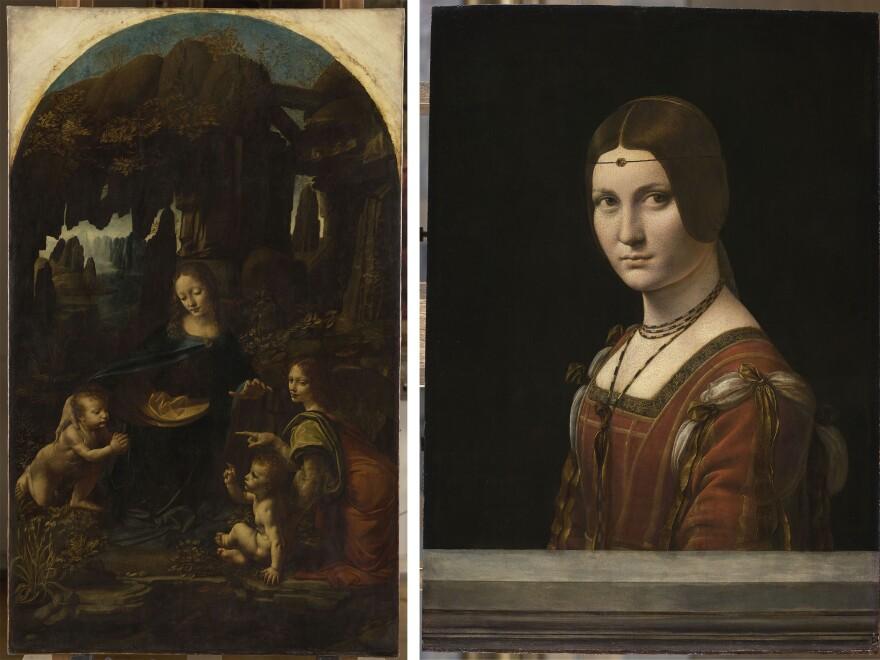Leonardo da Vinci's <em>Madonna of the Rocks</em> (left) and <em>La belle Ferronnière,</em> or <em>Portrait of an Unknown Woman,</em> are both part of the Louvre's exhibition.