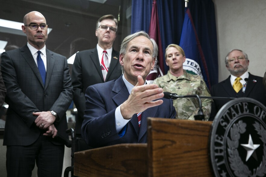Gov. Greg Abbott speaks to media at a press conference regarding COVID on Feb. 27.