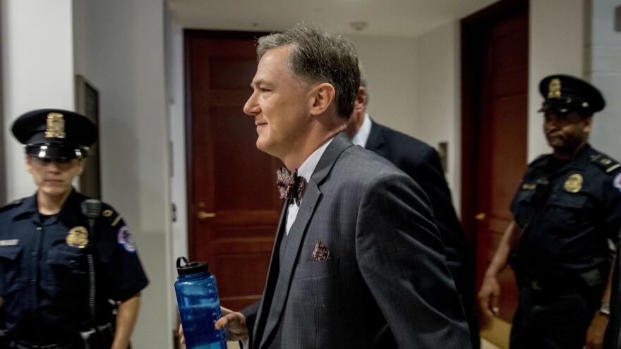 Deputy Assistant Secretary of State George Kent arrives on Capitol Hill on Oct. 15. His testimony from that deposition was released on Thursday.
